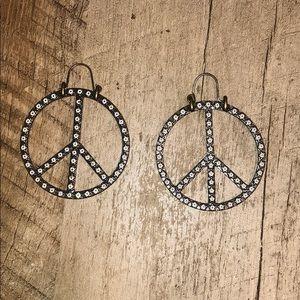 Lucky Brand Flower Peace Sign Earrings